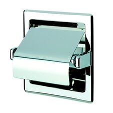 Standard Hotel Recessed Single Toilet Paper Holder with Cover in Stainless Steel