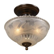 "<strong>Landmark Lighting</strong> 11"" Restoration 3 Light Semi Flush Mount"