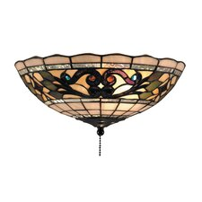 <strong>Landmark Lighting</strong> Tiffany Buckingham Fan Kit / Ceiling Mount with Leaf and Vine Design in Vintage Antique