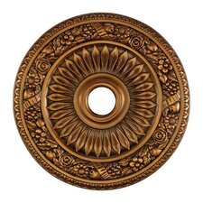 "24"" Floral Wreath Medallion in Antique Brass"