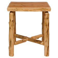 <strong>Fireside Lodge</strong> Traditional Cedar Log Square Pub Table and Tenoned Leg Rests Barstool Set