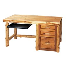 Traditional Cedar Log Standard Computer Desk Office Suite