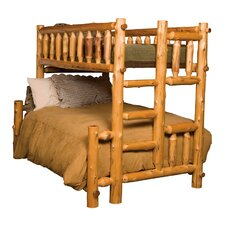 Traditional Cedar Log Bunk Bed with Built-In Ladder