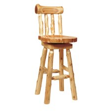 <strong>Fireside Lodge</strong> Traditional Cedar Log Barstool with Back