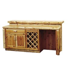 Traditional Cedar Log Bar with Refrigerator Opening