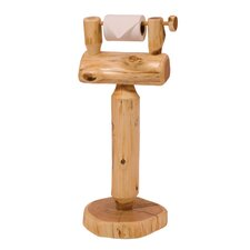 Traditional Cedar Log Free Standing Toilet Paper Holder