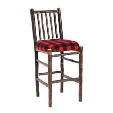 Hickory Barstool with Upholstered Seat