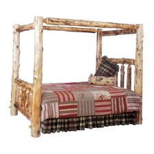 <strong>Fireside Lodge</strong> Traditional Cedar Log Canopy Bed