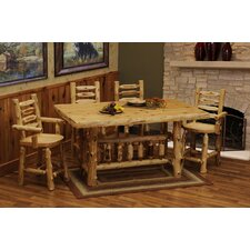 <strong>Fireside Lodge</strong> Cedar Log 5 Piece Counter Height Dining Set