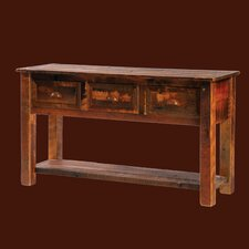 <strong>Fireside Lodge</strong> Reclaimed Barnwood Three Drawers Console Table