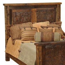 <strong>Fireside Lodge</strong> Barnwood Inset Copper Headboard