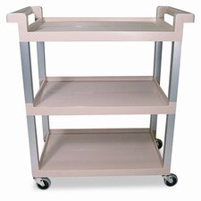 Commercial Service Cart with Brushed Aluminum Upright