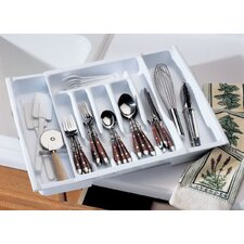 Adjustable Cutlery Tray and Drawer Organizer in White