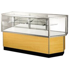 "<strong>Sturdy Store Displays</strong> Streamline 38"" x 56"" Half Vision Corner Combination Showcase with Panel Back"