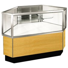 "<strong>Sturdy Store Displays</strong> Streamline 38"" x 34"" Half Vision Outside Corner Showcase with Panel Back"