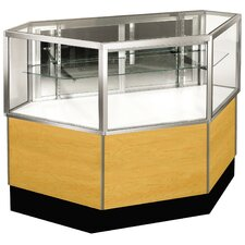 "<strong>Sturdy Store Displays</strong> Streamline 38"" x 42"" Half Vision Inside Corner Showcase with Mirror Back"