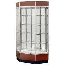 "<strong>Sturdy Store Displays</strong> Streamline 34"" x 15"" Front Opening Inside Corner Trophy Case with Glass Back"