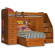 Space Saver Twin over Twin Platform Bunk Bed with 2 Chests