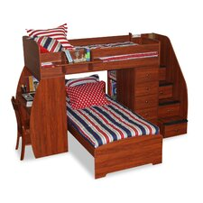 <strong>Berg Furniture</strong> Sierra Twin Space Saver L-Shaped Bunk Bed with Desk and Stairs