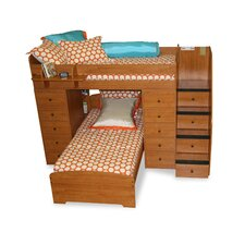 Sierra Twin Space Saver L Shaped Bunk Bed with Stairs and Storage (Twin over Twin)