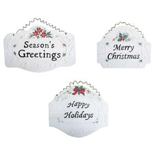<strong>Shine Company Inc.</strong> 3 Piece Christmas Plaque Set