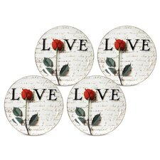 "Love Letters 8"" Dessert / Salad Plate (Set of 4)"