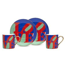 "Robert Indiana ""Love"" 3 oz. Espresso Cup and Saucer (Set of 2)"