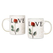 Love Letters 12 oz. Coffee Mug (Set of 2)