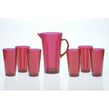 7 Piece Acrylic Hammered Glass Drinkware Set