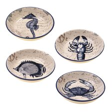 "Coastal Postcards 9.25"" Soup / Pasta Bowl (Set of 4)"