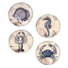"Coastal Postcards 6"" Canape Plates (Set of 4)"