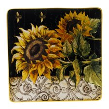 "French Sunflowers 14.5"" Square Platter"