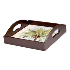 Key West 4-Tile Wood Square Serving Tray with Handles