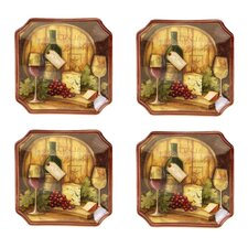 "Wine Map 6"" Canape Plate (Set of 4)"