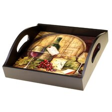 Wine Map 4-Tile Wood Square Serving Tray with Handles