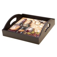 Tuscan View 4-Tile Wood Square Serving Tray with Handles