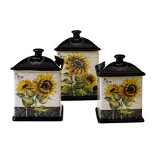 French Sunflowers 3 Piece Canister Set