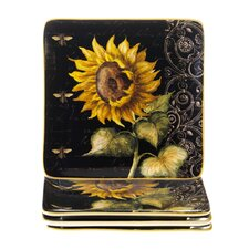 "French Sunflowers 8.25"" Square Salad Plate (Set of 4)"