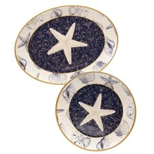 Coastal Moonlight 2 Piece Platter Set