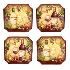 "Wine Map  10.5"" Dinner Plates (Set of 4)"