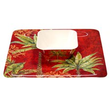 Sunset Palm 2 Piece Square Chip and Dip Set