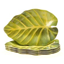 "Sunset Palm 10"" Leaf Plate (Set of 6)"