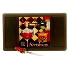 Tasting Room Wood Cheese Cutting Board with Ceramic Tile and Knife