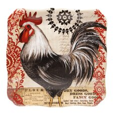 "Fancy Rooster 12.25"" Square Platter"