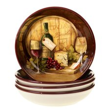 Wine Map Soup / Pasta Bowl (Set of 4)