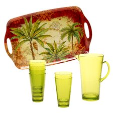 Sunset Palm 8 Piece Beverage Set