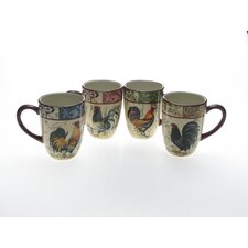 Lille Rooster by Geoffrey Allen 20 oz. Mug (Set of 4)