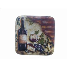 "<strong>Certified International</strong> Wine Cellar by Tre Studios 14.5"" Square Platter"