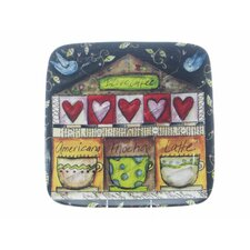 "Java Time by Lisa Kaus 14.5"" Square Platter"