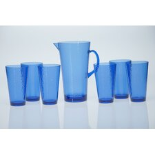 Acrylic Hammered Glass Teal Drinkware Set